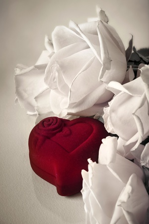 Roses with heart red box  photo