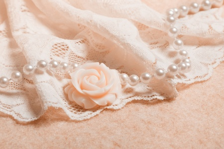 Wedding background with lace and chrystal, perl beads photo