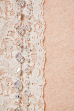 scrap booking: Wedding background with lace and chrystal, perl beads