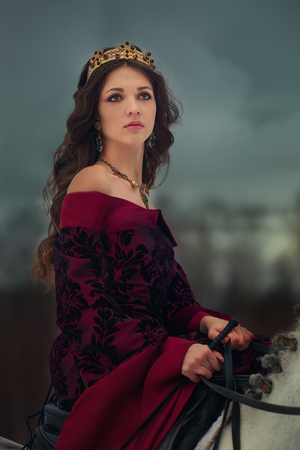 Medieval Queen on white horse at twilight winter forest Reklamní fotografie - 84754542