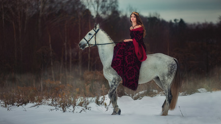 Medieval Queen on white horse at twilight winter forest Stock Photo