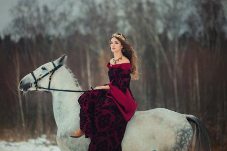 Medieval Queen on white horse at twilight winter forest Reklamní fotografie