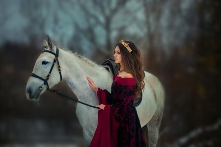 Middeleeuwse koningin op wit paard bij het bos van de schemeringwinter