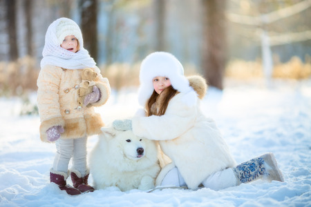Winter beautiful  little sisters  portrait with samoyed dog in sunny park Standard-Bild
