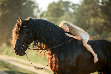 Little  girl with black friesian stallion at summer evening