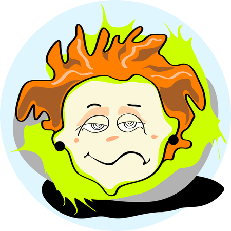 Redhead boy apathy character icon Illustration