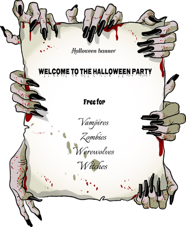 Halloween poster with terrible hands Zombies