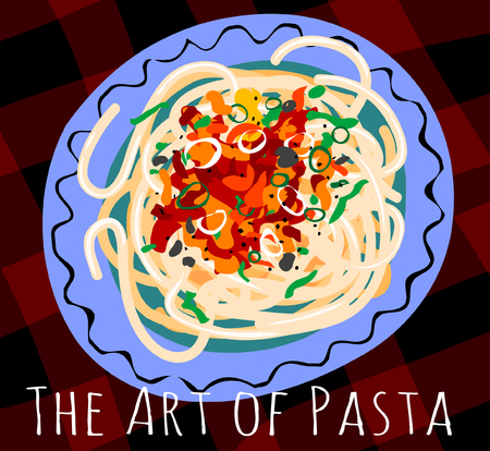 Tasty Italian pasta spagetti with spicy red tomato sauceon a blue plate Ilustracja