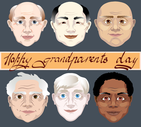 old people: National Grandparents Day. family holiday Illustration