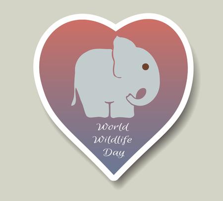 Giornata mondiale dell'ambiente e giorno dell'elefante mondiale. Adesivi vettoriali, emblemi, logo. Piccola silhouette di elefanti.