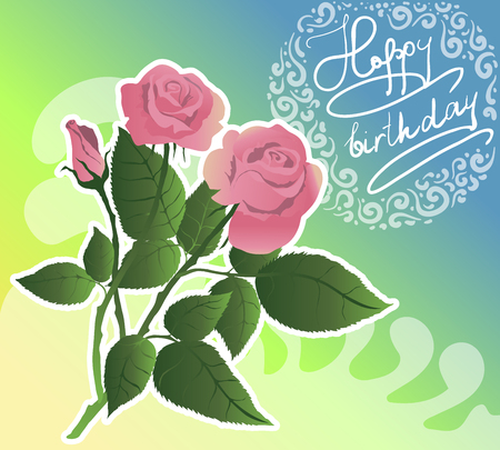 Birthday flover card. Pink roses vector.