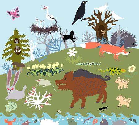 Summer glade in the forest with wild beasts and a river. Primitive Graphic Style Vector