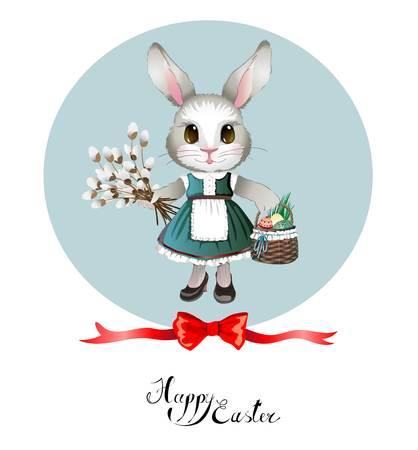 Lief konijntje in een jurk met een mandje met gekleurde eieren en wilg. Felicitatie groet Paaskaart. Vector afbeelding.