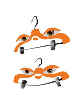 A clothes hanger with lovely eyes and a smile vector cartoon. Illustration