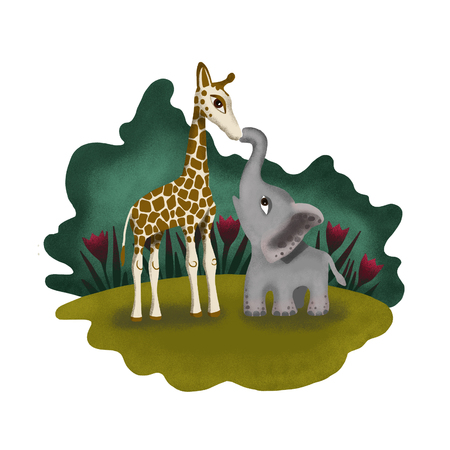 Elephant and Giraffe in love. Great friendship of two animals.