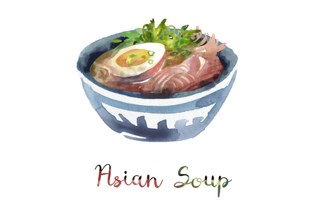 Asian food. Watercolor illustration of soup in bowl.