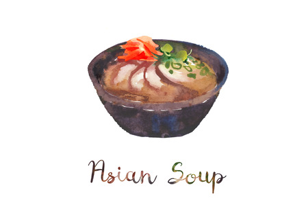 Asian food. Watercolor illustration of soup in bowl. Stock Illustration - 121037047
