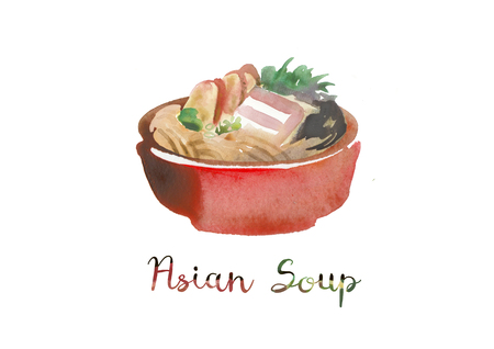 Asian food. Watercolor illustration of soup in bowl. Stock Illustration - 121037048