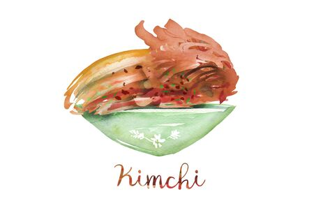 Hand drawn, watercolor illustration on white isolate background. Kimchi - Traditional Korea Food. Health Benefits food.