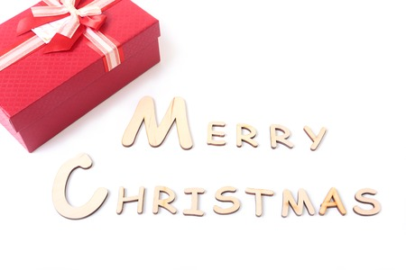 Text merry christmas on white background with gift box Stock Photo