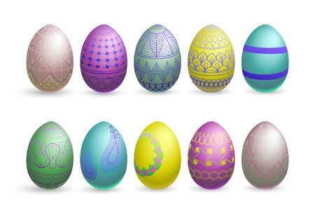 canvass: Easter eggs on a white background.