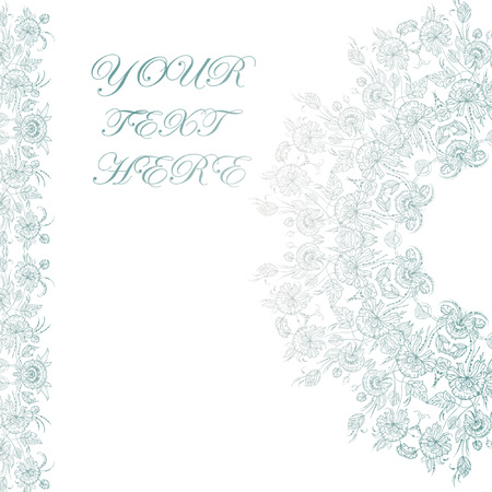 Wedding card or invitation with abstract floral background. Illustration