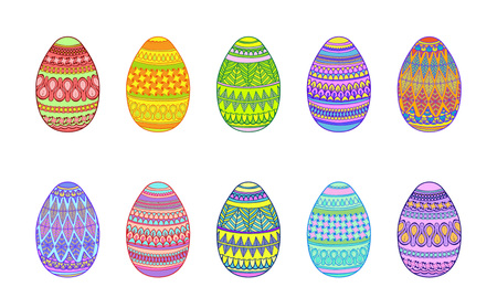 easter eggs on a white background easter multicolor