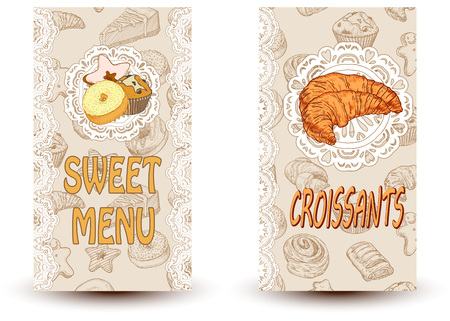 creme: Sweet menu and croissant Perfect for restaurant brochure, cafe flyer, delivery menu