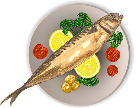 Mackerel on a plate with lemon, tomatoes and herbs