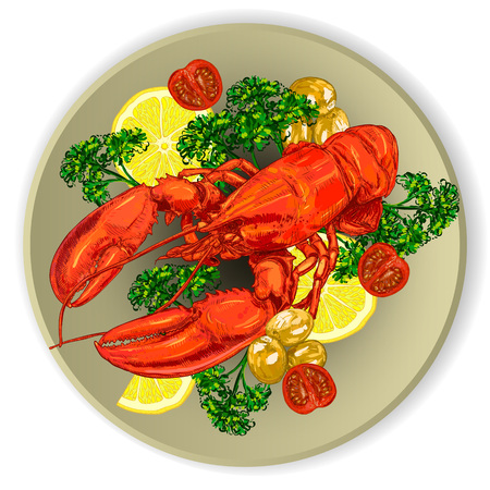 Lobster on a plate with lemon, tomatoes and herbs