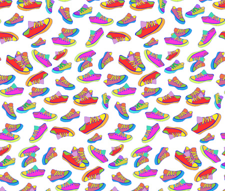 seamless pattern bright colored sneakers design, fashion, foot, sport Illustration