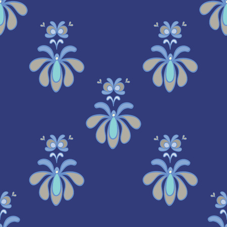 curtain up: Beautiful Blue and Gray Vector Seamless Pattern Illustration