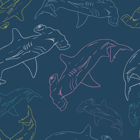 pez martillo: Patrón Hammerhead Shark Vector inconsútil
