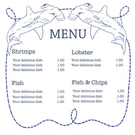 pez martillo: Vector náutico menú de mariscos con tiburón martillo y el marco de la cuerda