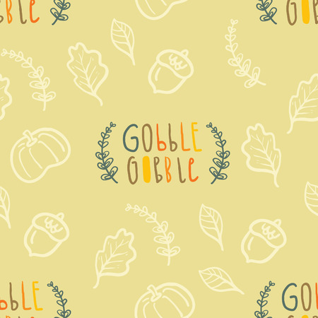 gobble: Autumn seamless vector pattern with hand lettering Gobble Gobble Illustration