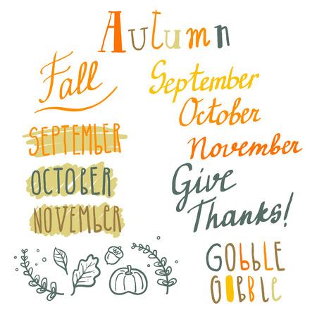 gobble: Hand drawn cute vector autumn lettering set