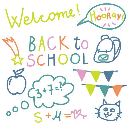 english text: English text Back to school . Cute vector set. Lettering. Illustration
