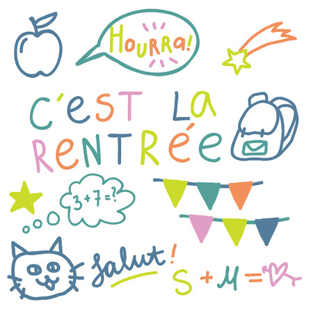 french: French text Cest la rentree, translate Back to School. Cute vector set. Lettering in French. Illustration