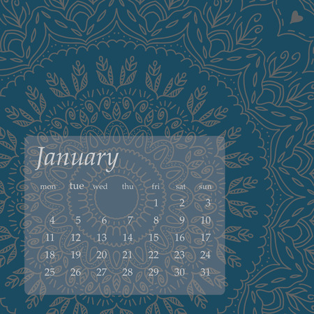 model motive: Mandala Calendar January 2016. Vintage decorative elements. Oriental pattern, vector illustration. Islam, Arabic, Indian, turkish, pakistan, chinese, ottoman motifs