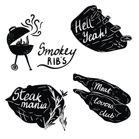 bbq ribs: Lettering on meat and ribs for bbq party or grill restaurant. Black and white illustrations.