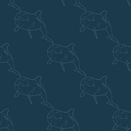 maneuverable: Dolphin seamless vector pattern