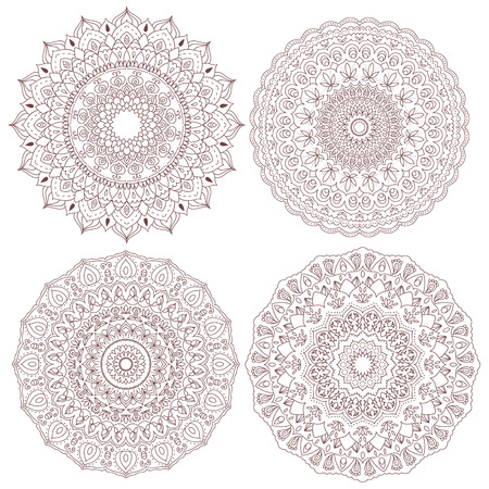 decorative element: Mandala set. Vintage decorative elements. Hand drawn background. Indian, Turkish, Asian motifs.