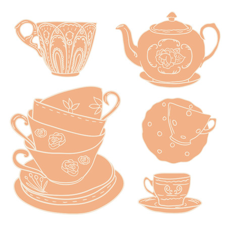 teacups: Vector set with teapots and teacups.