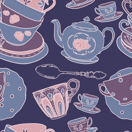 teapot: Vector seamless pattern with teapots, teacups, spoon. Retro tea background in vivid colors. Illustration