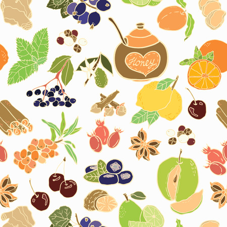 allspice: Seamless vector pattern with spices, berries and fruits for autumn beverages. Vector hand drawn illustration.