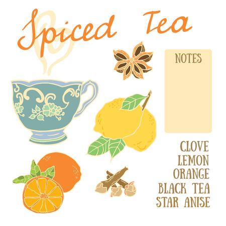 star anise: Delicious autumn spiced tea recipe with lemon, orange, star anise and clove Illustration