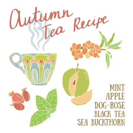 tea rose: Delicious autumn tea recipe with apples, dog rose, mint and sea buckthorn.