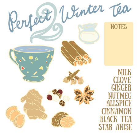 clove: Perfect Winter Tea Recipe with cinnamon, clove, ginger, milk, allspice, nutmeg and anise.