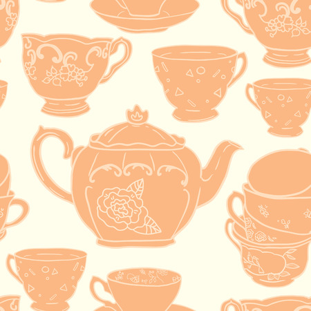 teacups: Vector seamless pattern with teapots, teacups, spoon. Retro tea background in vivid colors. Illustration