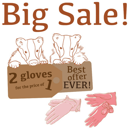 leather gloves: Big Sale illustration with cute badgers, leather gloves and labels
